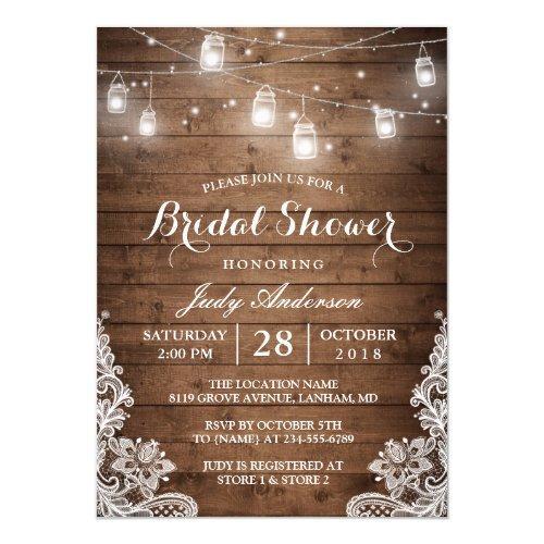 Mason Jars Lights Rustic Wood Lace Bridal Shower Invitations