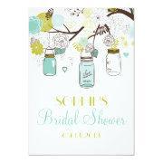 Mason Jars Spring Flowers Bridal Shower Invitation