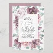 Mauve Flowers And Greenery Elegant Bridal Shower Invitation