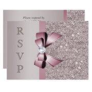 Mauve Gray Sequins Diamonds Bow Rsvp