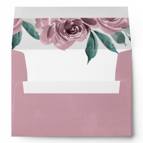 Mauve Watercolor Roses Floral Return Address A7 Envelope