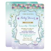 Mermaid Bridal Shower Invitation Purple Gold Ocean