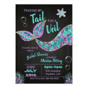 Mermaid Bridal Shower Invitation, Glitter Chalk Invitation