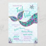 Mermaid Bridal Shower Invitation, Glitter Invitation