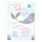 Mermaid Bridal Shower Invitations, Glitter Invitations