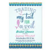 Mermaid Bridal Shower Invite Gold Glitter Sea