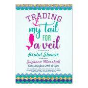 Mermaid Bridal Shower Invite Holiday Ocean Sea