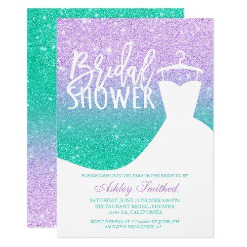 Mermaid Glitter Purple Teal Dress Bridal Shower Invitations