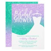Mermaid Glitter Purple Teal Dress Bridal Shower Invitations