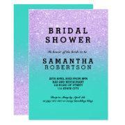 Mermaid Lavender Faux Glitter Teal Bridal Shower