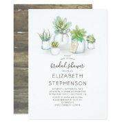 Mini Succulents Mason Jars Rustic Bridal Shower Invitation