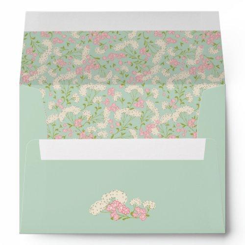 Mint And Pink Vintage Flower Envelope