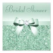 Mint Green Sequins, Bow & Diamond Bridal Shower Custom Invite