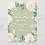Mint Green Succulent Flower Wedding Bridal Shower Invitation