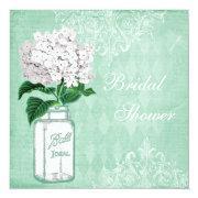 Mint Shabby Chic Jar & Hydrangea Bridal Shower Invitation