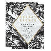Modern Black White Gold Palm Tree Bridal Shower