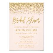 Modern Blush Pink Faux Gold Glitter Bridal Shower