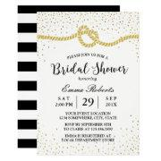 Modern Bridal Shower Tying The Knot Gold Confetti