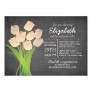 Modern Chalkboard Peach Tulip Bridal Shower Custom Invitations