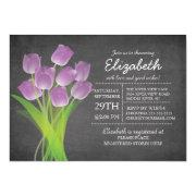 Modern Chalkboard Purple Tulip Bridal Shower Personalized Announcement