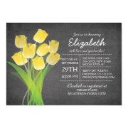 Modern Chalkboard Yellow Tulip Bridal Shower Invitations