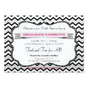 Modern Chevron Grey Pink Bridal Shower Invite