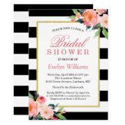 Modern Classic Black Stripes Floral Bridal Shower