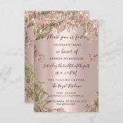 Modern Drips Rose Gold Bridal Wedding Floral Invitation