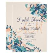Modern Floral Coral Teal Watercolor Bridal Shower