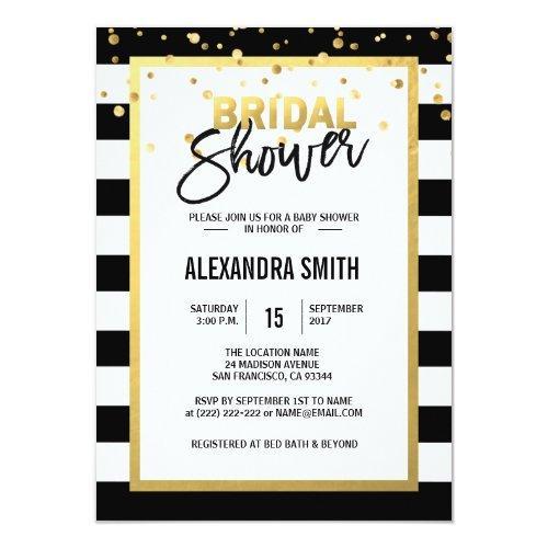 Modern Gold Black White Stripes Bridal Shower Invitation