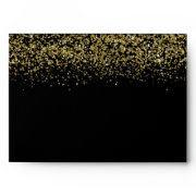 Modern Gold Glitter Black Elegant Envelope