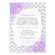 Modern Lavender Dahlia Bridal Sprinkle Invites
