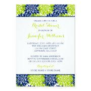 Modern Lime Green Navy Blue Flower Bridal Shower
