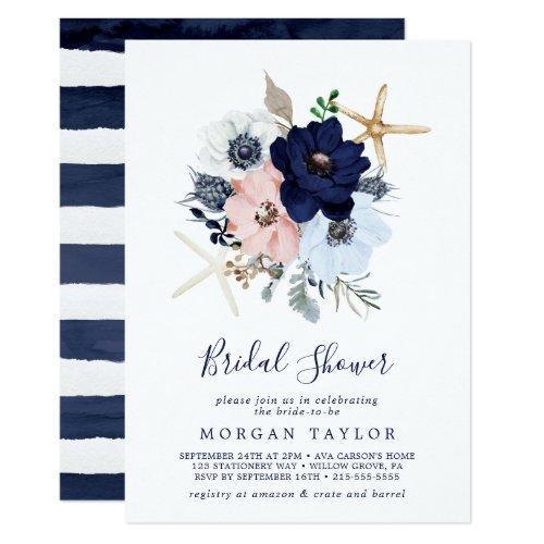 Modern Nautical | Floral Bridal Shower Invitation