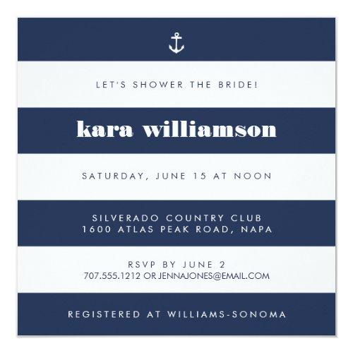 Modern Nautical Stripe Navy & White Bridal Shower Invitations