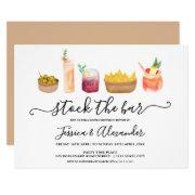 Modern Snacks Cocktails Watercolor Couples Shower Invitation