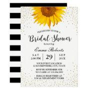 Modern Sunflower Gold Confetti Dots Bridal Shower