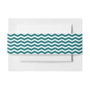 Modern Teal Green Chevron Stripes Invitation Belly Band