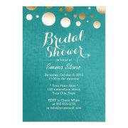 Modern Teal Green Gold Dots Bridal Shower