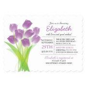 Modern typographic Purple Tulip Bridal Shower Custom Invitations