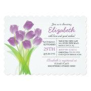 Modern Typographic Purple Tulip Bridal Shower Invitations