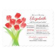 Modern Typographic Red Tulip Bridal Shower Invitation