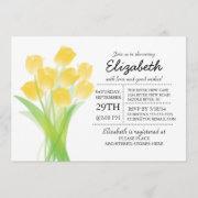 Modern Typographic Yellow Tulip Bridal Shower Invitation