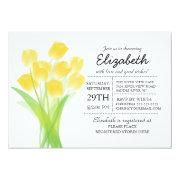Modern Typographic Yellow Tulip Bridal Shower Cards