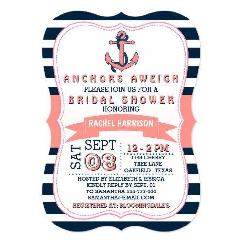 Nautical Anchor Beach Bridal Shower Invitations