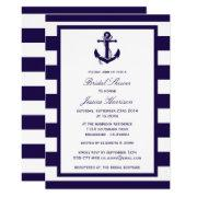 Nautical Anchor Navy Stripe Bridal Shower Invitation