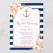 Nautical Anchor Vintage Floral Navy Bridal Shower Invitation