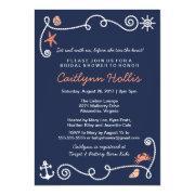 Nautical bridal shower invitations funbridalshowerinvitations nautical beach navy coral bridal or bridal shower invitation filmwisefo