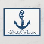 Nautical Bridal Shower Anchor Navy Blue Wedding Invitation Postinvitations