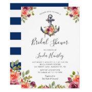 Nautical Bridal Shower Navy Stripes Anchor Floral